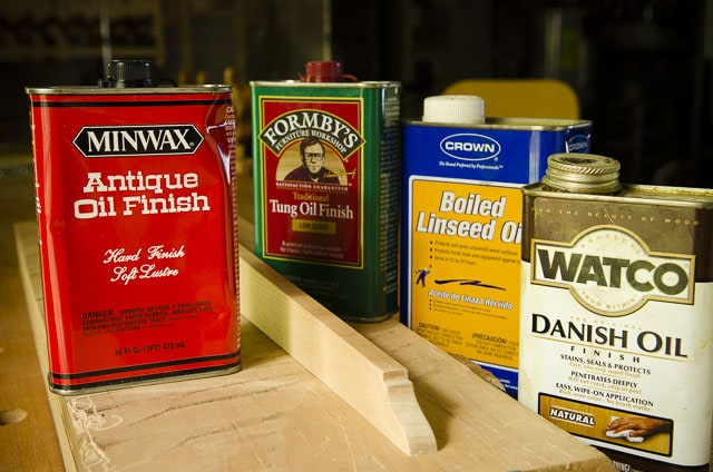 Row of cans of wood finish