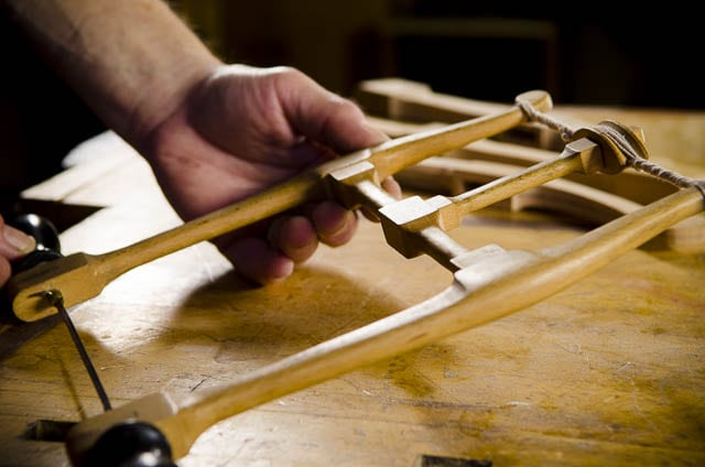Howarth Bow Saw on a woodworking Workbench held by Bill Anderson