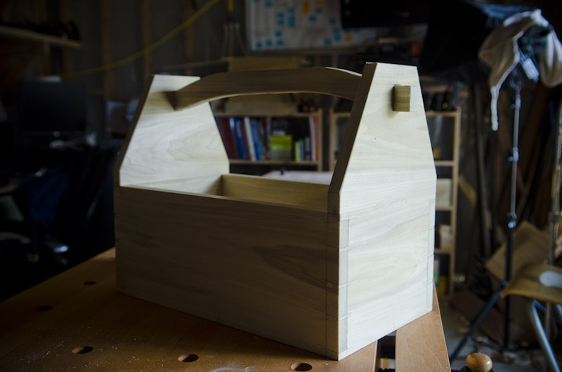 Dovetail Tool Tote For Woodworking Hand Tools Sitting On A Sjobergs Workbench