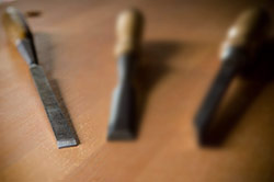 Witherby paring chisel in focus among two other wood chisels