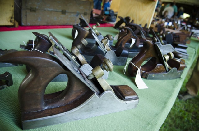 Antique scottish infill hand planers on display at a hand tool sale