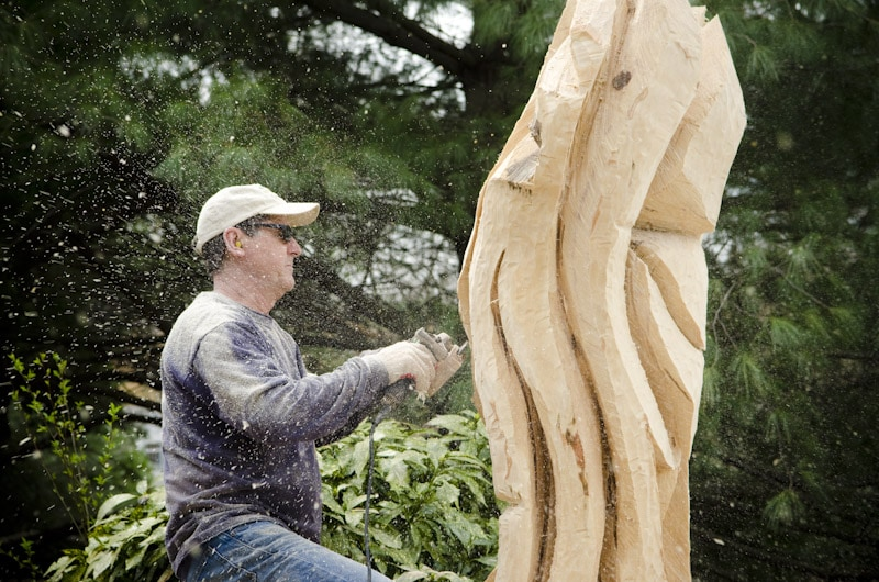 Artisan tree carver in virginia video wood and shop