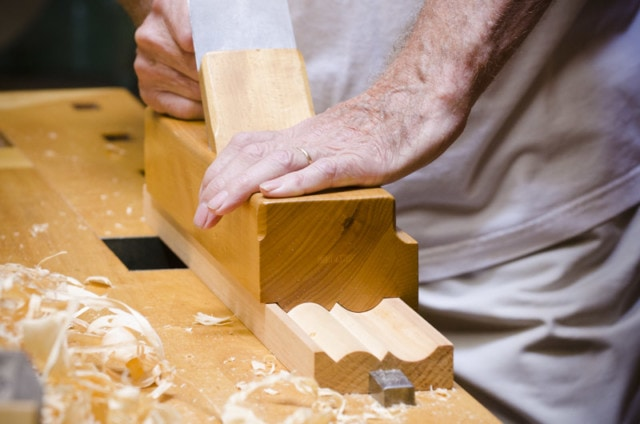 Frank Klausz Using A Monster Molding Plane To Cut A Molding Or Moulding On A Woodworking Workbench