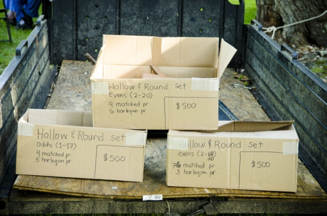A Stack Of Boxes In The Back Of A Trailer With Writing Showing Hollow And Round Sets Of Molding Planes
