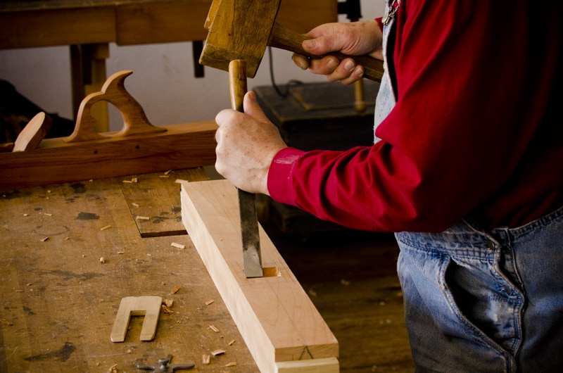 Bill Anderson chiseling mortise