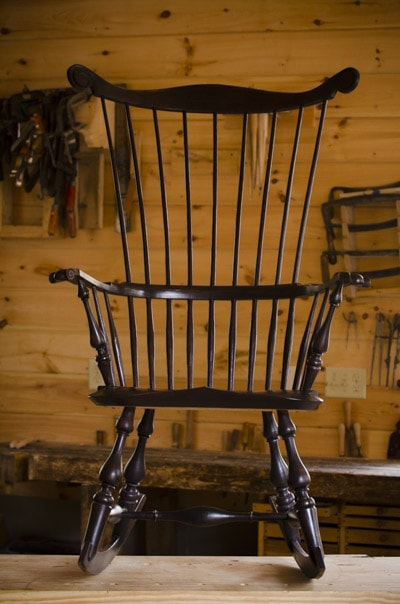 Comb back Windsor Rocking Chair made by Elia Bizzarri in his North Carolina woodworking workshop