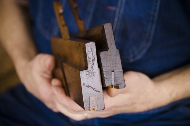 Bill Anderson Holding Two Beading Planes Or Molding Planes For Hand Tool Woodworking