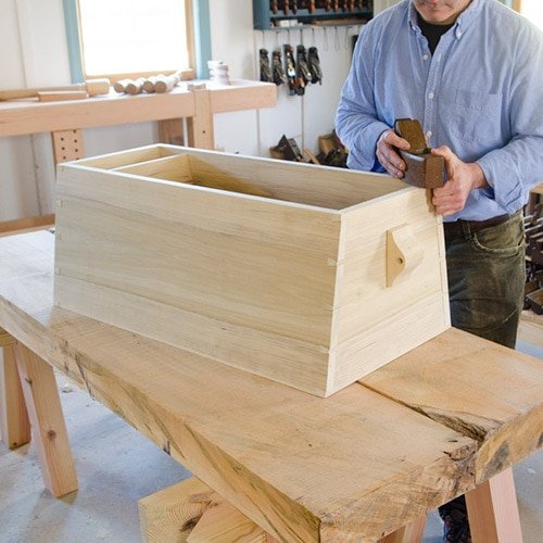 Angled Dovetail Sailor Tool Chest Being Made By Tom Calisto Using A Wooden Hand Plane