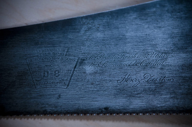 Henry Disston D-8 steel hand saw plate etching with keystone logo