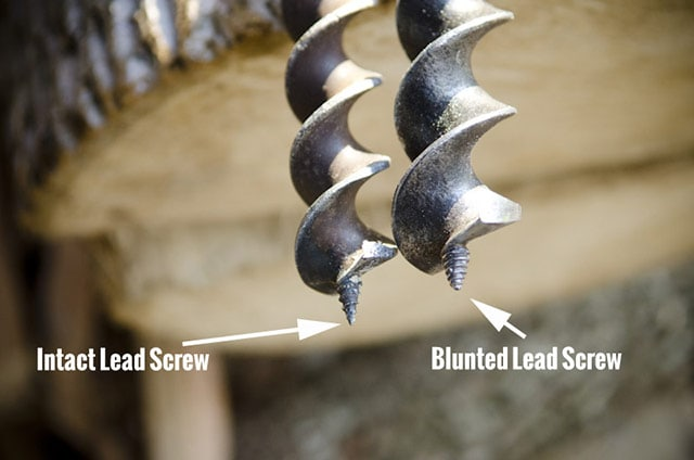 Lead Screws Of A T Handle Hand Auger Drill In Traditional Hand Tool Woodworking