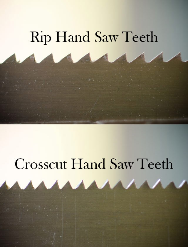 Woodworking hand saw teeth rip saw and cross cut saw