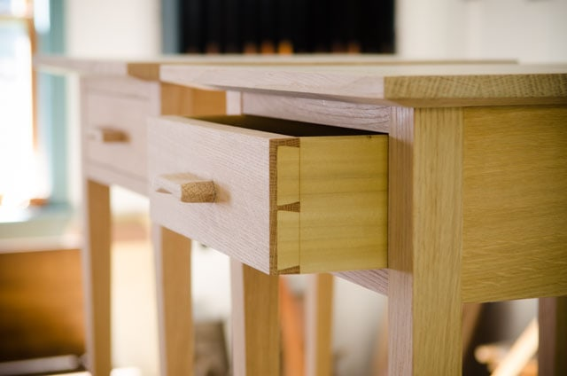 Simple Unfinished quartersawn white oak end table night stand with half blind dovetail drawers