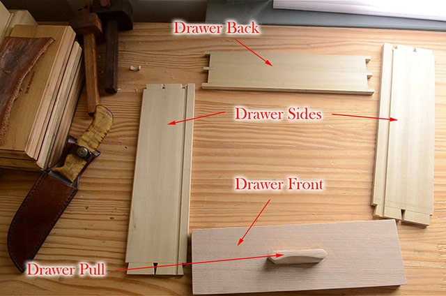 Diagram showing parts of a table drawer