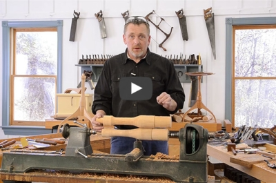 Will Myers wood turning a spindle for the hancock shaker candle stand