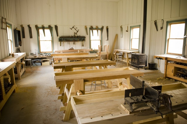 Wood And Shop traditional woodworking school with 10 workbenches and antique hand tools