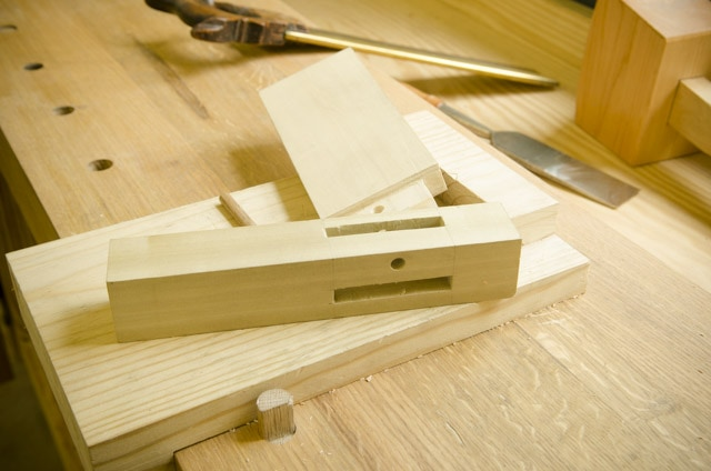 Mortise and tenon joint on a woodworking workbench