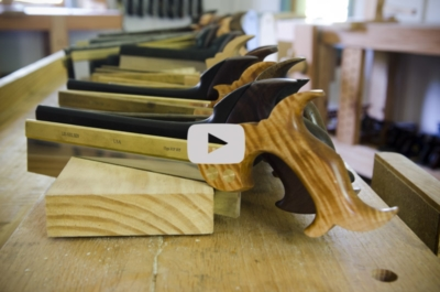 dovetail saws in a line with video player