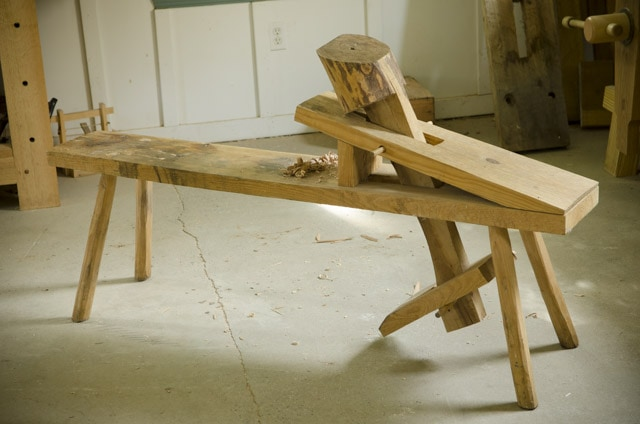 Traditional German shaving horse inside woodworking school