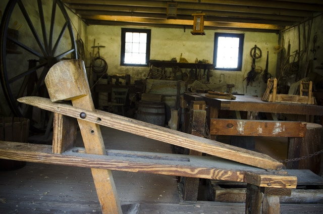 A Shaving horse inside a historic workshop at Middleton Plantation