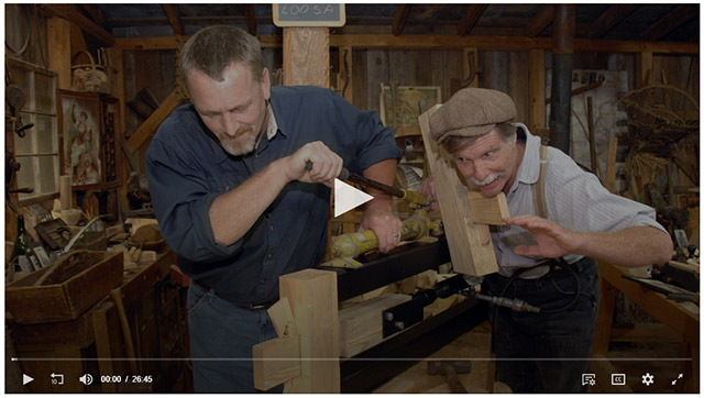 Will Myers & Roy Underhill testing the strength of a tusk tenon joint