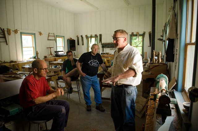 Will Myers teaching a class at the wood and shop traditional woodworking school