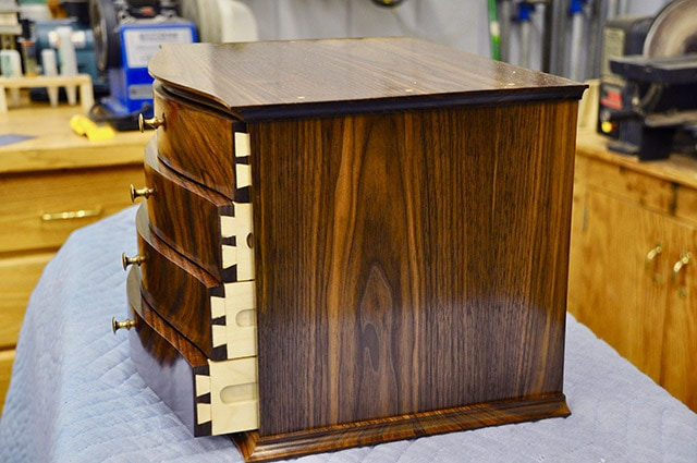 jewelry box with dovetailed drawer built by james huggett