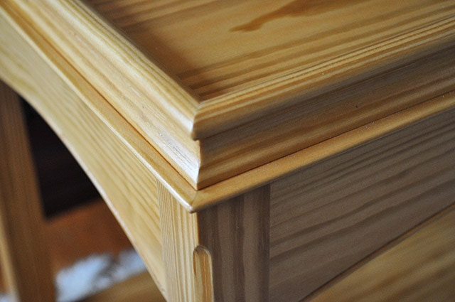 Molding details of Pine serving table built by james huggett