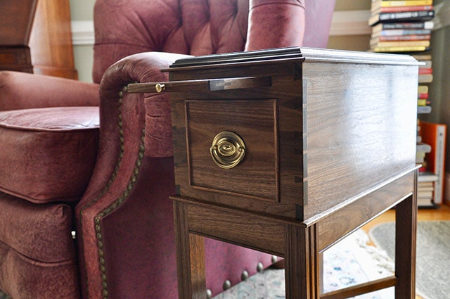 Walnut end table with pull out tray built by james huggett