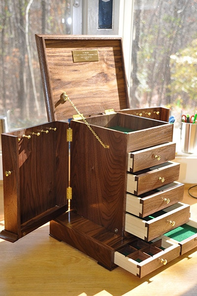 Stacked dovetail drawer jewelry box built by james huggett