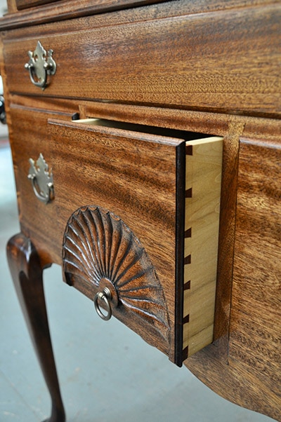 Highboy with fan carving dovetailed drawer built by james huggett