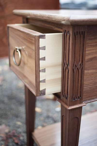 dovetailed drawer built by james huggett