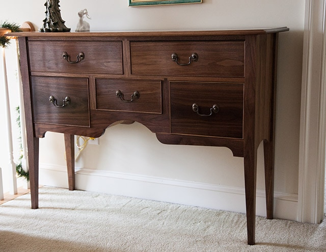 walnut sideboard built by james huggett