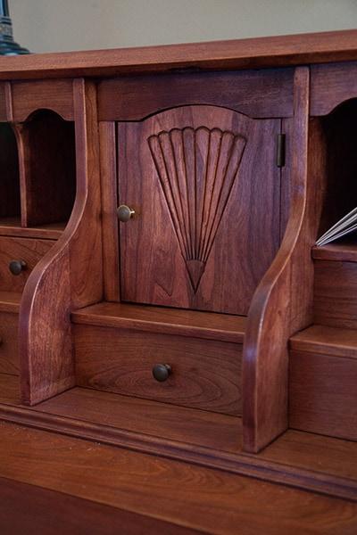 wooden desk carving built by james huggett