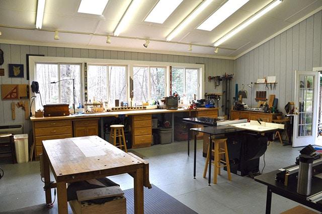 Interior of James Huggett's dream woodworking furniture workshop