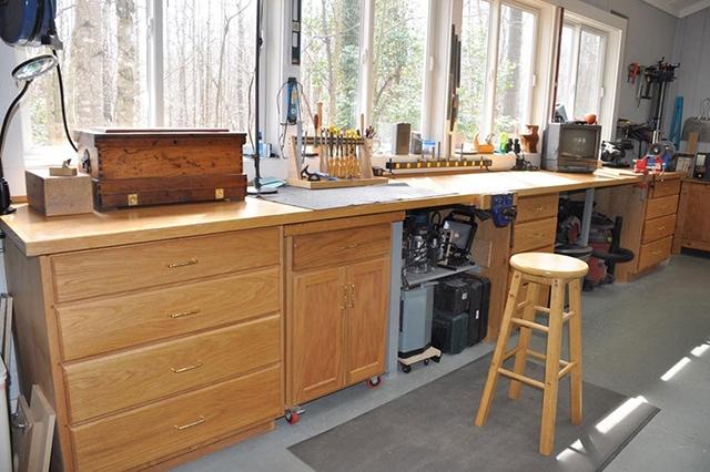 James Huggett woodworking workshop workbench windows