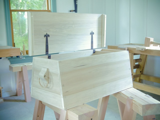 An angled dovetail sailor tool chest in Joshua Farnsworth's Traditional Woodworking School