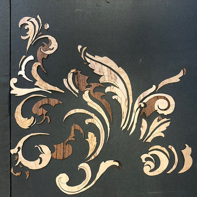 Marquetry panel progress by Dave Heller