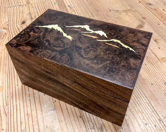 Dave Heller walnut inlay box Japan mountains