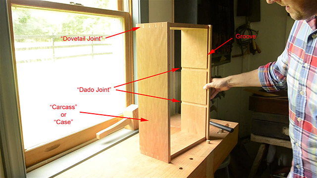 Diagram of parts and wood joints of wall cupboard