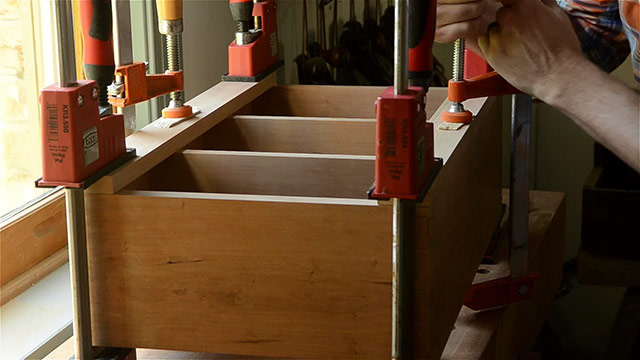shaker cherry wall cupboard gluing face frames and clamping with woodworking clamps