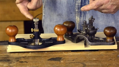 Stanley 71 router plane with Lie-Nielsen router plane Bill Anderson at Roy Underhill's Woodwright's School