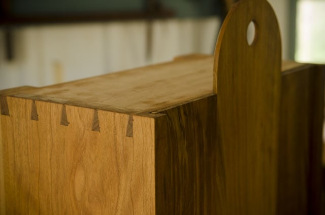 Dovetails top of shaker wall cupboard cherry wood