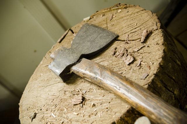 Single bevel hatchet on a wood stump