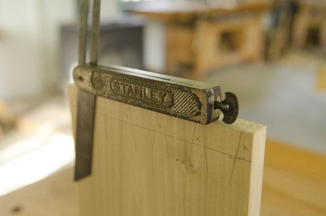 Stanley sliding t bevel gauge on a dovetail board