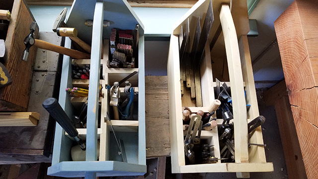 Woodworking Bench Totes With Wooden Dividers To Store Woodworking Hand Tools And Marking And Measuring Tools