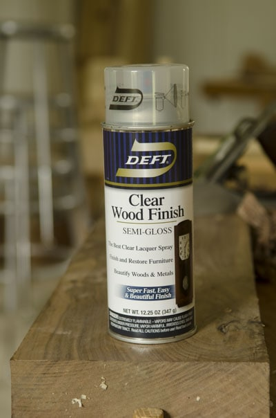 A can of Deft clear wood finish semi-gloss lacquer