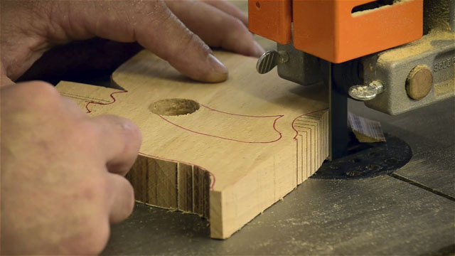 Cutting out an 18th century hand saw handle on a bandsaw