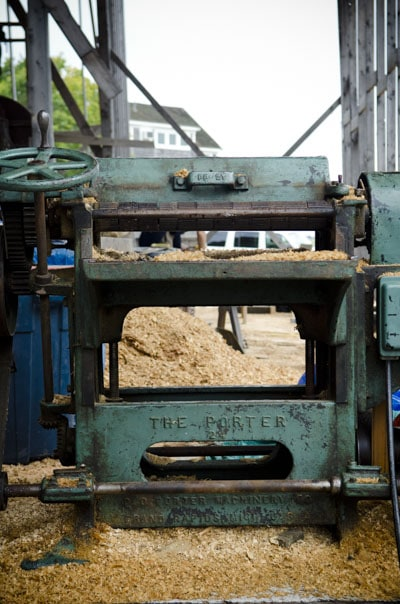 Huge antique Porder 24 inch power thickness planer in a ship yard in Vineyard Haven Martha's Vineyard
