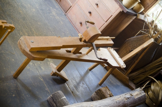 A Shaving Horse Is A Green Woodworking Tool At The Hancock Shaker Village Basket Making Workshop