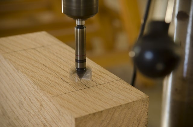 Forstner drill bit spinning on a drill press